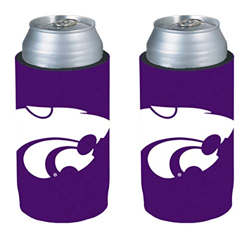NCAA College Ultra Slim Beer Can Holder Cooler 2-Pack (Kansas State (Kansas State Wildcats Cooler)