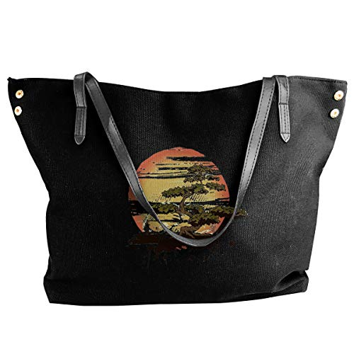 Bonsai Tree Karate Dojo Women's Canvas Hobo Handbags Shoulder Bag Tote Bag ()