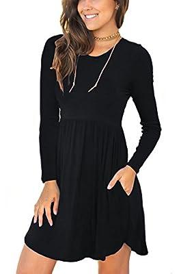 Neineiwu Women's Long sleeve Loose Plain Dresses Casual Short Dress with Pockets