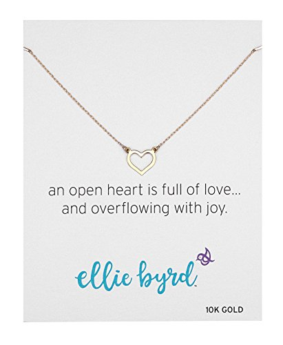 10k Heart Necklace - ellie byrd 10k Yellow Gold Open Heart Necklace, 18