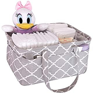 Mommy.Ahn Baby Diaper Caddy Organizer - Nursery Storage Bin and Car Organizer for Baby Essentials - Ideal Baby Shower Basket for Boys and Girls - Large Diaper Tote Bag for Changing Table (Grey)