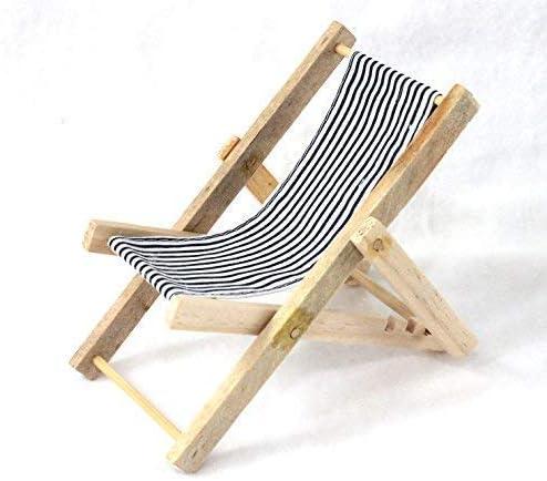 Unbekannt Mini Deko Liegestuhl blau-Weiss gestreift Holz//Textil
