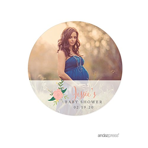 Circle Baby Photo Announcement - Andaz Press Photo Personalized Floral Roses Baby Shower Collection, Round Circle Gift Label Stickers, 40-Pack, Custom Image