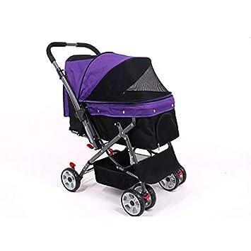 LOVEPET Cochecito De Cuatro Ruedas para Perros Carro Reversible para Mascotas Plegable Carga 25Kg,Purple: Amazon.es: Deportes y aire libre