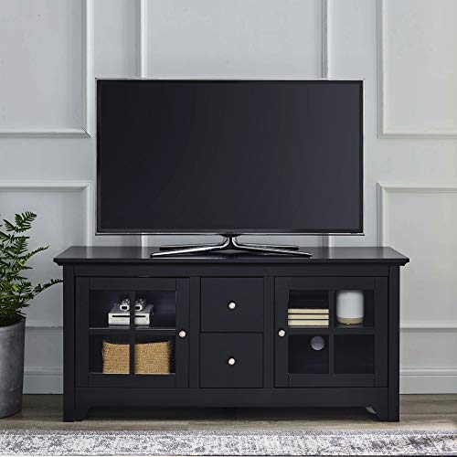 "Walker Edison Modern Transitional Wood Stand with Storage Cabinets for TV's up to 56"" Living Room, 52 Inch, Black"