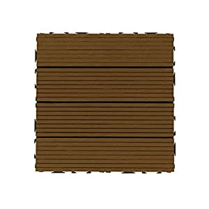 biwood WPC - Módulo de tarima para suelo (300 x 300 mm, superficie aprox. de 0,9 m², madera de teca, 10 unidades)