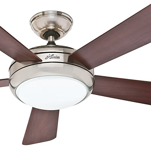 """Hunter Fan 52"""" Contemporary Ceiling Fan in Brushed Nickel with Integrated Light, 5 Blade (Certified Refurbished)"""