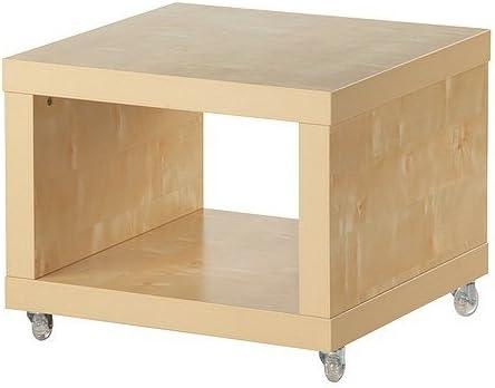 IKEA Lack Beistelltisch mit Rollen; Birkenachbildung; (55x55cm)
