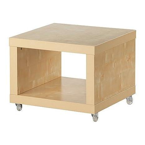 Tavolino Basso Ikea.Ikea Lack Side Table With Wheels 55x55x45 Cm Birch Amazon