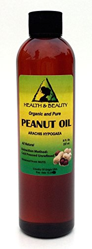 Peanut Oil Unrefined Organic Carrier Cold Pressed Virgin Raw Pure 8 oz