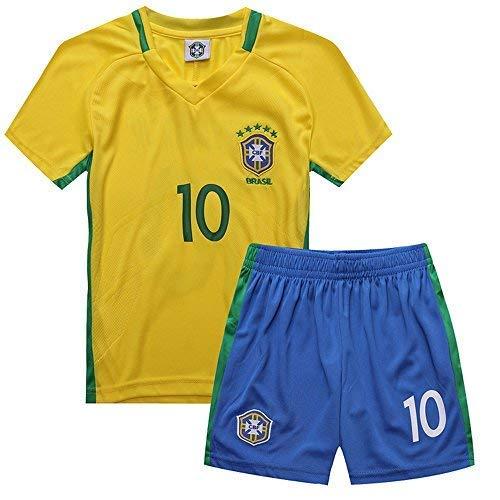 yuqier Brazil Soccer Team Neymar JR 10# Home 2018 World Cup Soccer Kids Boy 3-12 Years Team Suit Shorts (M)]()
