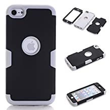 iPod Touch 5 Case,iPod Touch 6 Case, NOKEA Layered 3in 1 Hard PC Case Silicone Shockproof Heavy Duty High Impact Armor Hard Case for Apple iPod Touch 6 5th Generation (Black+Grey)