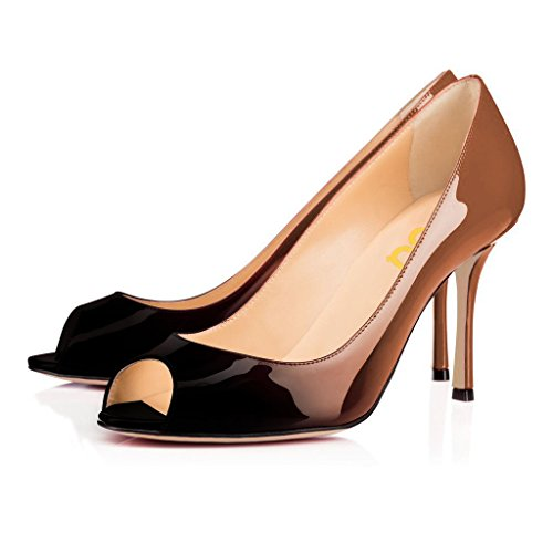 cheap sale factory outlet with paypal cheap price FSJ Women Flattering Peep Toe Formal Dress Shoes Glossy Patent High Heels Pumps Size 4-15 US Bronze Gradient sale deals discount newest buy cheap outlet locations uo1TZ