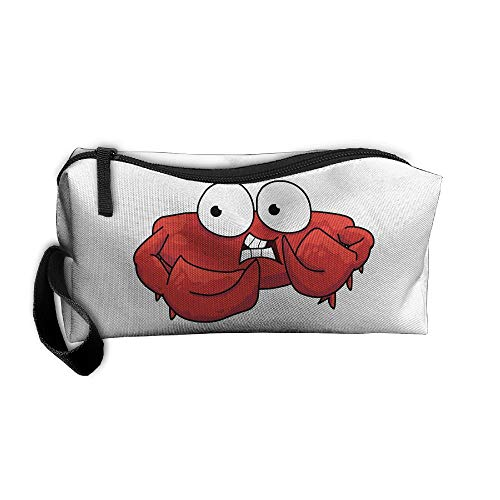 Cosmetic Bags With Zipper Makeup Bag Red Crab With Big Eyes Middle Wallet Hangbag Wristlet Holder ()