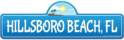 (Hillsboro, FL Florida Beach Street Sign | Indoor/Outdoor | Surfer, Ocean Lover, Décor for Beach House, Garages, Living Rooms, Bedroom | Signmission Personalized Gift)