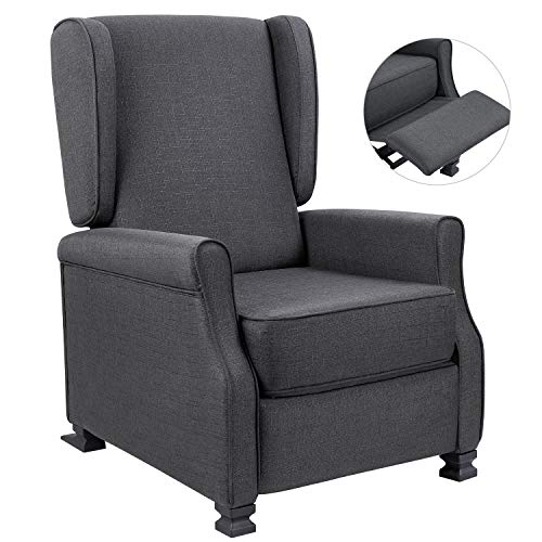Homall Wingback Recliner Chair Modern Fabric Single Sofa Medieval Living Room Arm Chair Home Theater Seating Push Back Club Chair Reclining (Gray)