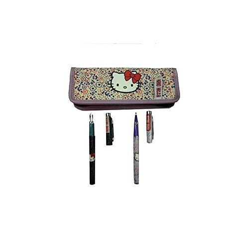 Bettwäsche Kugelschreiber und Füllfederhalter Hello Kitty in seiner Stoff Tasche–NEU