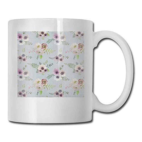 Anemone Flower Ceramic Porcelain Mug Vintage Bouquets Bridal Corsage Design Shabby Leaves Ranunculus Blossoms for Office and Home Multicolor 11oz