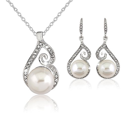 Danbihuabi Women's Wedding Jewelry Sets Fashion Bride Drop Earrings & Pendant Necklace