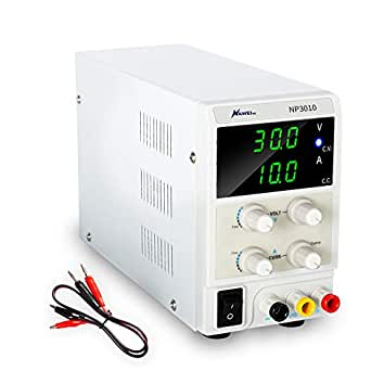 DC Bench Power Supply Variable, 3-Digital LED Display 30V 10A Switching Power Supply with Free Alligator Clip US Power Cord for Lab Equipment, DIY Tool, Repair