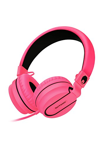 RockPapa Stereo Adjustable Foldable Headphones Lightweight Headband Headsets with Microphone 3.5mm for Cellphones Smartphones iPhone Tablets Laptop Computer Mp3/4 DVD (Black/Pink)