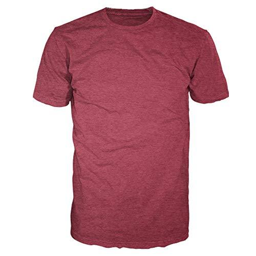 Men's Signature Collection - Casual Premium Soft Cotton Short Sleeve T-Shirts Classic Crew Neck Style by Four Seasons Design (Heather Crimson Red, - Heather Crimson