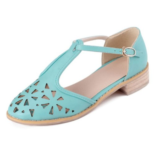 Charm Foot Fashion Hollow Out T Strap Womens Low Heel Sandals Green uOI465dKz
