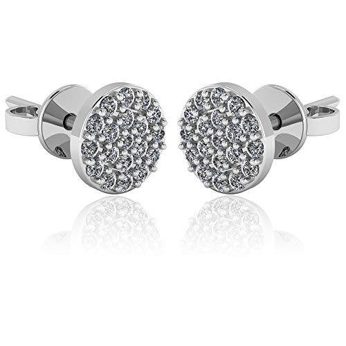 .925 Sterling Silver & Pavé-Set Cubic Zirconia Petite Stud Earrings - Round Button