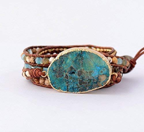 Handmade Azurea Gilded Stone Beaded Wrap Bracelet | Ocean Jasper Gilded Gold Wrap Bracelet | Green Blue Turquoise Leather Wrap Bracelet | Huge Stone Beaded Bracelet | Valentine's Gift Ideas