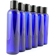 8oz Empty Plastic Squeeze Bottles with Disc Top Flip Cap (6 pack); BPA-Free Containers For Shampoo, Lotions, Liquid Body Soap, Creams (8 ounce, Cobalt Blue)
