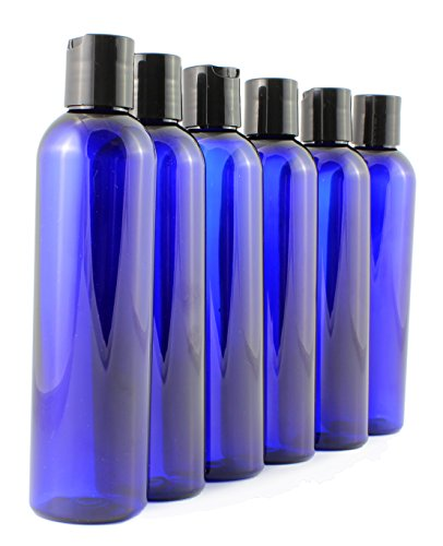 8oz Empty Plastic Squeeze Bottles with Disc Top Flip Cap (6 pack); BPA-Free Containers For Shampoo, Lotions, Liquid Body Soap, Creams (8 ounce, Cobalt Blue) ()