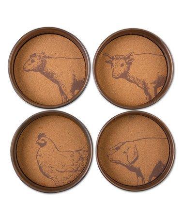 Set of 4 Vintage look Farm Animal Jar Lid Coasters