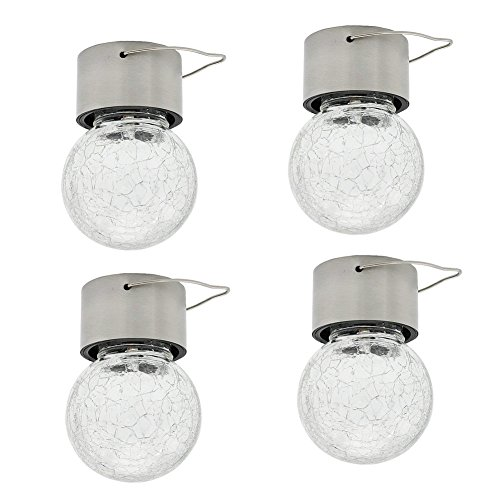 Lantern Crackle (Set of 4 Crackle Glass Globe Solar Lights Outdoor Tree Hanging Light Garden Lights- Weatherproof Design-Path Lantern Landscape Lights for Stairs Courtyard Terrace Garden Park (Pure White))
