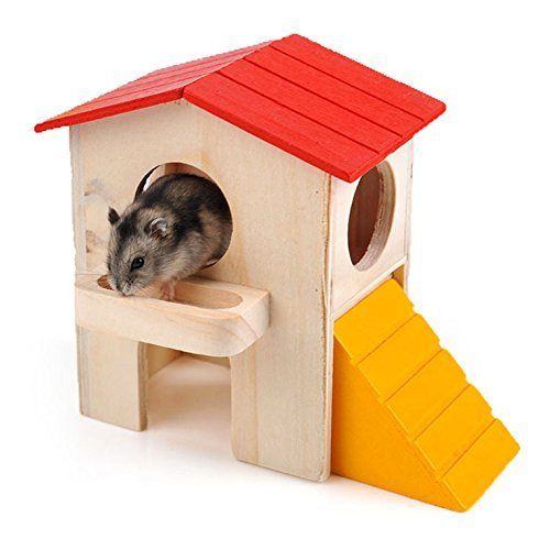 Bhbuy Small Animal Cage Wood Villa House Sport Exercise Toy