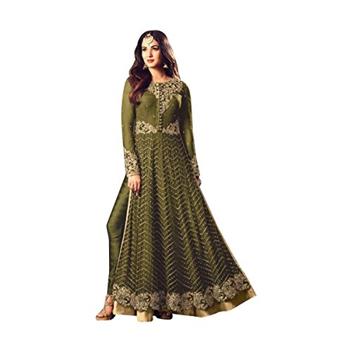Bollywood New Launch Anarkali Suit Diwali Party Wedding Wear Women Muslim Ceremony Festival Ethnic 514 (Sap Green) by ETHNIC EMPORIUM