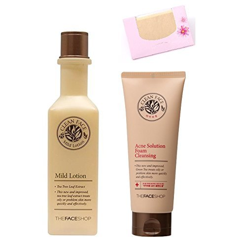 BUNDLE - The Face Shop Acne Foam Cleansing Solution + Clean Face Mild Toner + SoltreeBundle Natural Hemp Paper 50pcs