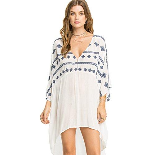 fino protezione spiaggia costume da costume Yi bianco ShouYu donna il White grande una mantello coperchio resort cotone bikini di Sun il bianco spa rivestire cortile bagno è timbro dimensione SS1nqPT7w