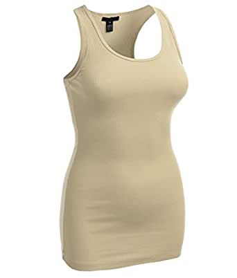 Long Ribbed Rib Racerback Tank Top Cotton Stretch Quality Tunic Basic (Small, Beige)