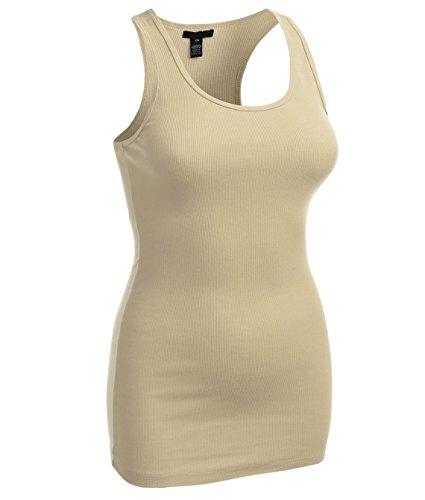Long Rib Tank - Long Ribbed Rib Racerback Tank Top Cotton Stretch Quality Tunic Basic (Large, Beige)