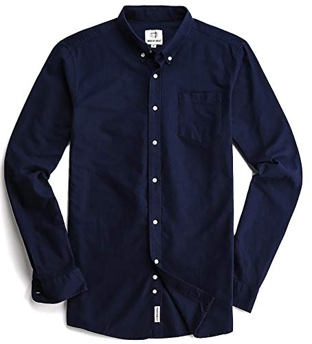 (Men's Oxford Long Sleeve Button Down Dress Shirt with Pocket,Navy Blue,X-Large)