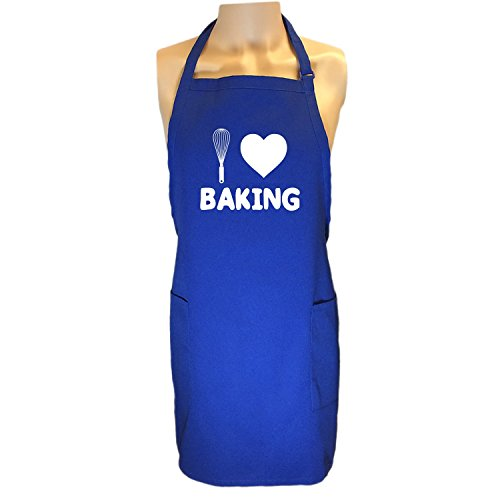 I Love Baking Apron with 2 patch pockets in Royal - One Size by ZeroGravitee (Image #1)