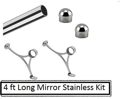 4 ft Polished Stainless Steel Foot Rail Kit- 2'' OD Mirror Finish by www.thefootrailstore.com