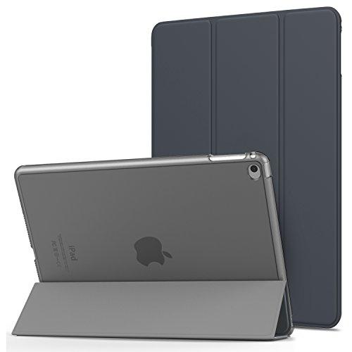 MoKo iPad Air 2 Hülle - PU Leder Tasche Schale Smart Case mit Translucent Rücken Deckel, mit Auto Schlaf/Wach Funktion und Standfunktion für Apple iPad Air 2/iPad 6 9.7 Inch iOS 8 Tablet, Space Grau