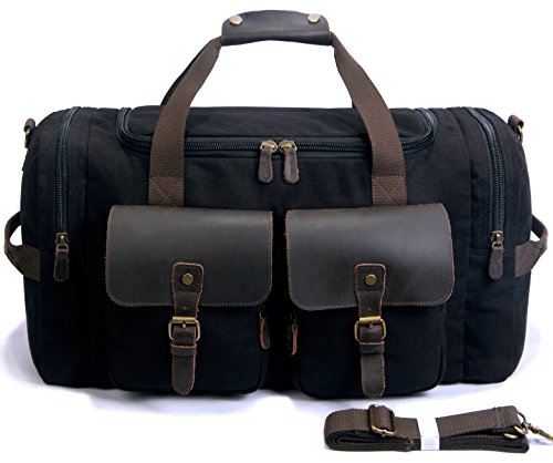SUVOM Canvas Duffle Bag Leather Weekend Bag Carry On Travel Bag Luggage Oversized Holdalls for Men and Women(Black)