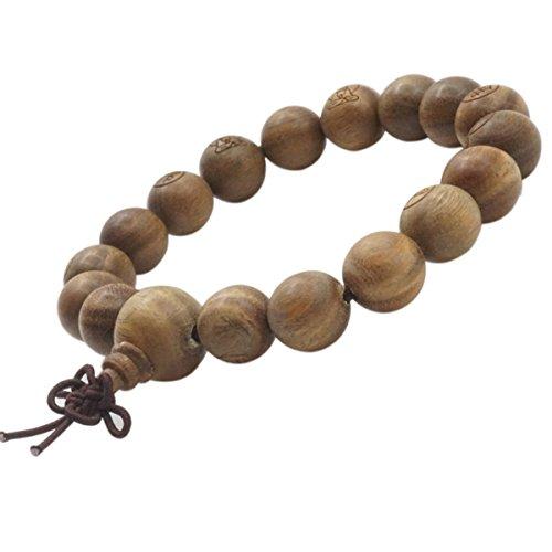 12mm Sandalwood Beads Bracelet Wrist Tibetan Meditation Buddhist Prayer Mala Elastic Bracelet