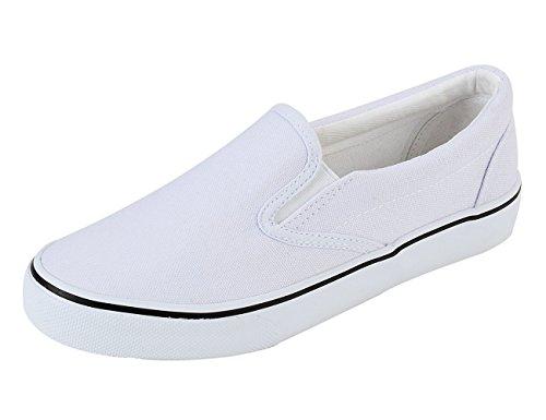 Rainlin Mens Toile Slip Sur La Chaussure Mode Casual Confort Sneakers Blanc