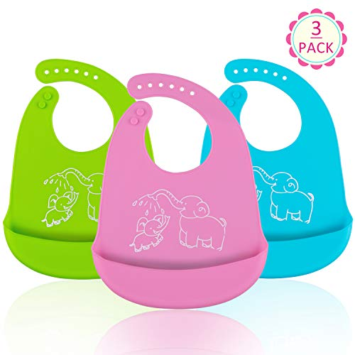 Waterproof Silicone Bibs, Ezire Comfortable Soft Baby Bibs Keep Stains Off! Easy Clean with Big Roll Up Pocket for Babies or Toddlers. Set of 3 ()
