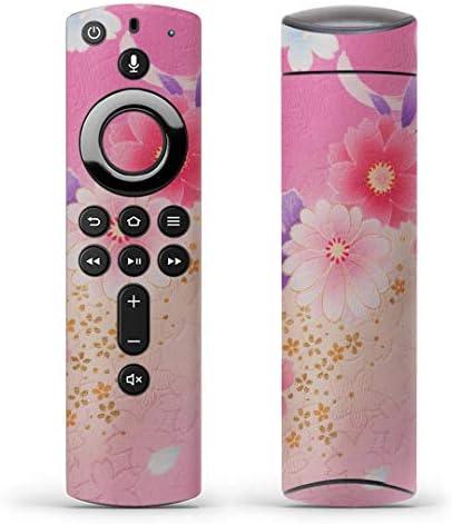 igsticker Fire TV Stick 第2世代 専用 リモコン用 全面 スキンシール フル 背面 側面 正面 ステッカー ケース 保護シール 004993 フラワー 花 和風 ピンク