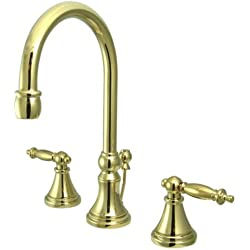 Kingston Brass KS2982TL Tuscany Widespread Lavatory Faucet with Brass Pop-Up, Polished Brass