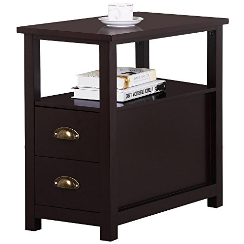 2 Drawer Square Nightstand - Topeakmart Chairside Table with 2 Drawer and Shelf Narrow Nightstand for Living Room (Espresso, Rustic)